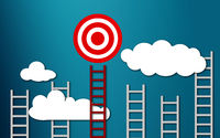 Long red ladder to goal target business concept