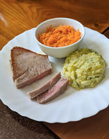 Tuna steak with mashed potatoes and carrot