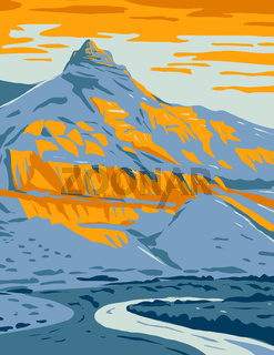 Sheep Rock in Sheep Rock Unit of John Day Fossil Beds National Monument in Oregon WPA Poster Art