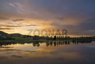 Sunset over the Ljusnan river near Jarvso
