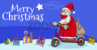greeting card with Santa Claus on scooter on Christmas time