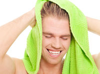 man after taking a shower