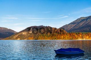 Sylvenstein reservoir lake in autumn, Bad Toelz, Bavaria, Germany, Europe
