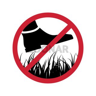 Please stay off the lawn, Prohibited keep off the green grass or forbidden stepping sign on white