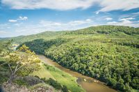 Canyon of river Berounka, view from a hill Certova skala in a Hracholusky village Czech Republic.