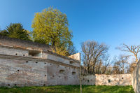 Lueginsland, part of the medieval city wall in Augsburg, Bavaria, Germany