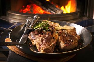 t-bone steak on the frypan