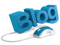 Blog word with blue mouse
