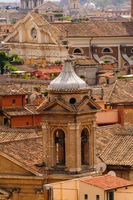 Detail view to Rome rooftops with catholic basilics and monuments, Italy