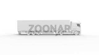 3D rendering of a logistics truck isolated on empty background white space.