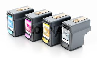 Generic inkjet printer CMYK cartridges isolated on white background. 3D illustration