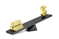Gold bars and dollar sign on seesaw