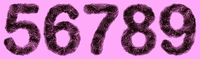 Bacteria in shape of 3D digits 5, 6, 7, 8, 9 on violet background