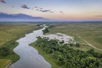 dawn over Dismal River in  Nebraska Sandhills