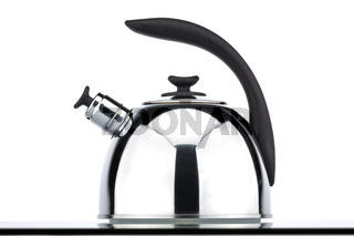 Chrome teapot on a white background