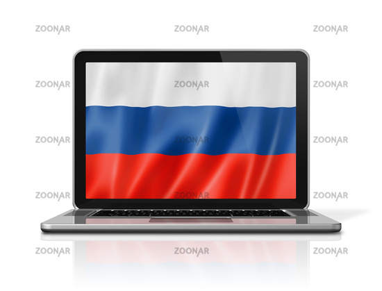 Russian flag on laptop screen isolated on white. 3D illustration