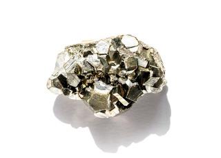 Pyrite gemstone on a white background