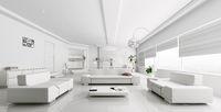 Interior of modern white living room rendering
