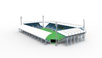 3D rendering of a stadium building architecture structure isolated on white background