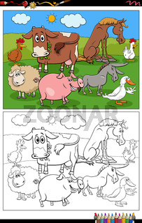 cartoon farm animals characters coloring book page