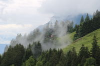 Fog creeping up a mountain side. Distant view of Mount Augstmatthorn.