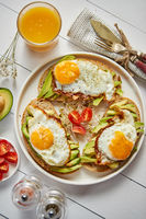 Delicious healthy breakfast with sliced avocado sandwiches with fried egg