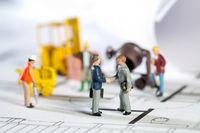 Construction site and blueprint