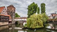 Pegnitz river and Maxbrucke bridge in Nuremberg