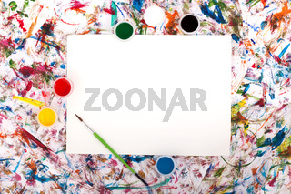 Colorful abstract watercolor background splash with a blank paper