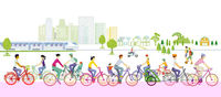 Cyclists excursion by bike, in free time