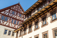 Historic half-timbered house called Henneberger Haus in Meiningen