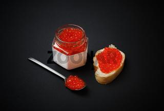 Delicious fresh red caviar