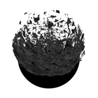 Explosion Cloud of Black Pieces on White Background. Sharp Particles Randomly Fly in the Air. Big Burst. Circle Explode