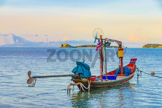 Longtail boats from fishermen on the beach Koh Samui Thailand.