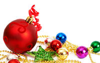 Colorful Christmas baubles and star