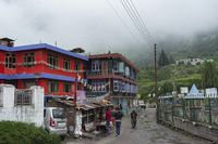 Sarahan Town view on a misty day, Himachal Pradesh, India
