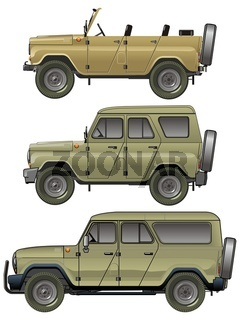 Isolated Jeeps Set