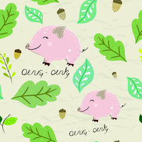 Seamless pastel pattern of mini-pig with floral elements on crumpled paper background. Vector illustration.
