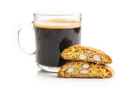 Italian cantuccini cookies and coffee cup. Sweet dried biscuits with almonds