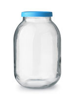 Front view of big empty glass jar with blue lid