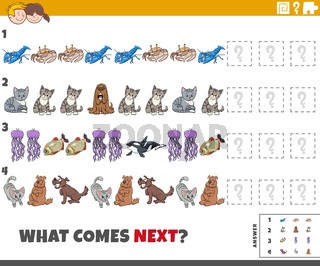 educational pattern game for children with comic animals