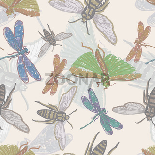 vector seamless background with insects