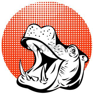 Hippopotamus Head Retro