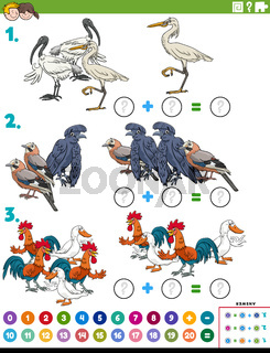 math addition educational task with cartoon birds characters