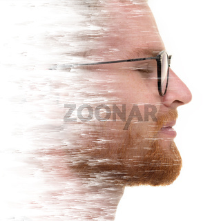 A double exposure portrait of an attractive man combined with digital art.