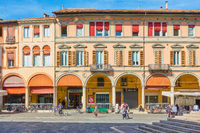 Old buildings on Piazza del Popolo in Faenza