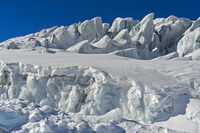 Towers of glacial ice, seracs, on the Feegletscher, Saas-Fee, Valais, Switzerland