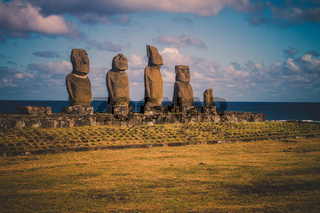 Moai stone sculptures on Easter island, Chile.