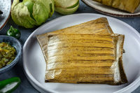 Tamales oaxaquenos, traditional dish of the cuisine of Mexico,
