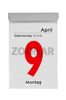 Abreißkalender zeigt Ostermontag